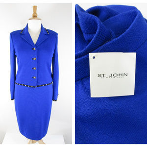 St. John Collection Imperial Blue 3 Pc Skirt Suit